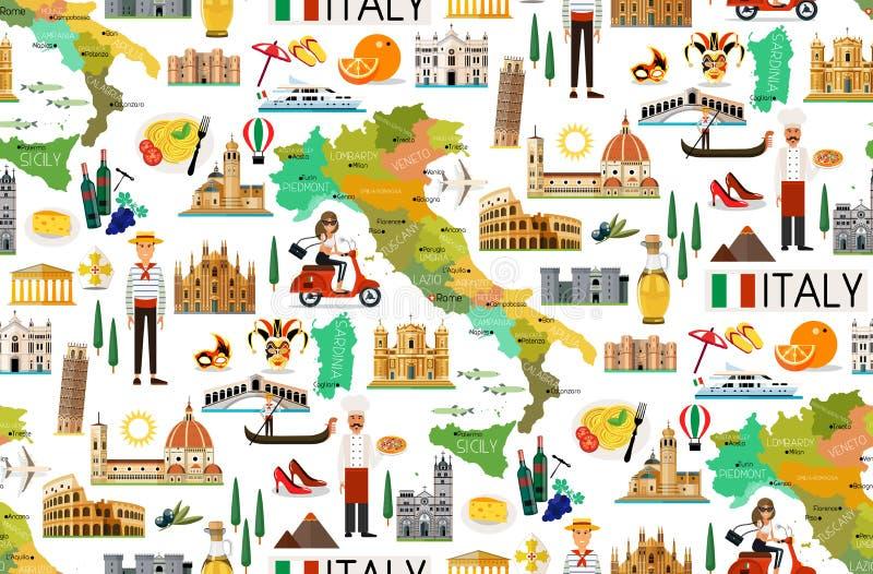 Włochy podróży wzór ilustracji