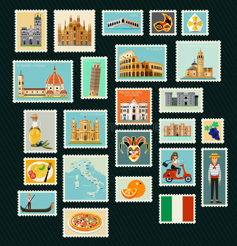 Włochy podróży znaczki royalty ilustracja