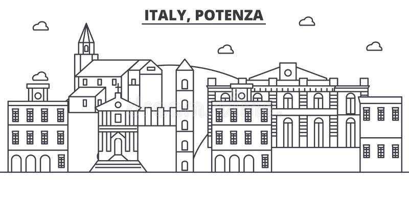 Włochy, Potenza architektury linii linii horyzontu ilustracja Liniowy wektorowy pejzaż miejski z sławnymi punktami zwrotnymi, mia ilustracja wektor