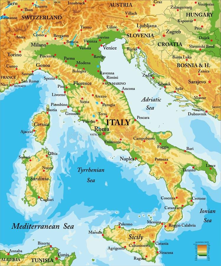 Włochy reliefowa mapa ilustracji