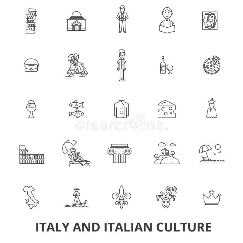 Włochy, Rome, Italy mapa, Italy flaga, włoch, pizza, gondola, ser, karnawał kreskowe ikony Editable uderzenia Płaski projekt ilustracji
