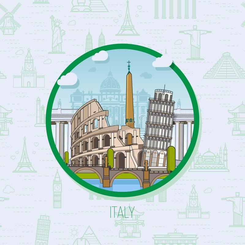 Włochy Rzym punkty zwrotni, historyczna architektura na tle, ilustracji