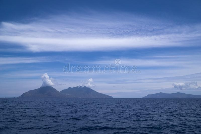 Włochy Sicily Eolowe wyspy, Filicudi wyspa, Lipari i Vulcano, obrazy royalty free