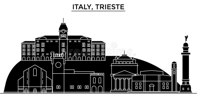 Włochy, Trieste architektury miasto wektorowa linia horyzontu, podróż pejzaż miejski z punktami zwrotnymi, budynki, odosobneni wi ilustracji