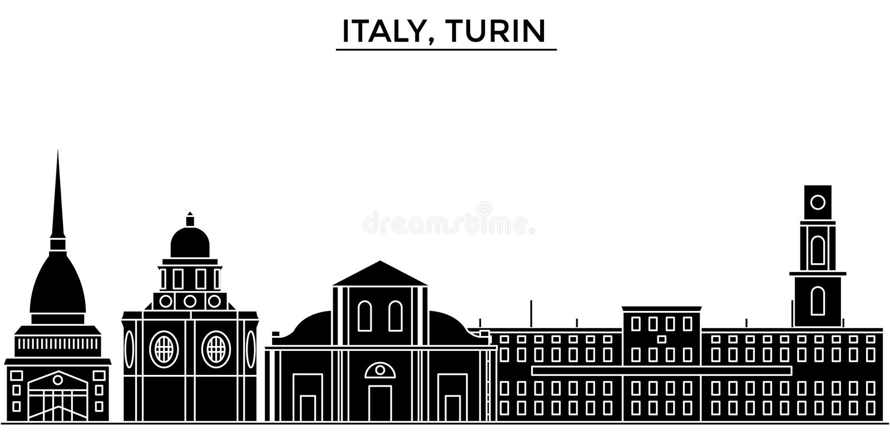 Włochy, Turyn architektury miasto wektorowa linia horyzontu, podróż pejzaż miejski z punktami zwrotnymi, budynki, odosobneni wido royalty ilustracja