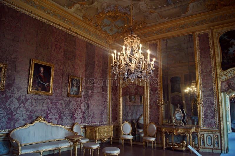 Włochy, Turyn pałac królewski Stupinigi, śniadaniowy pokój zdjęcie stock