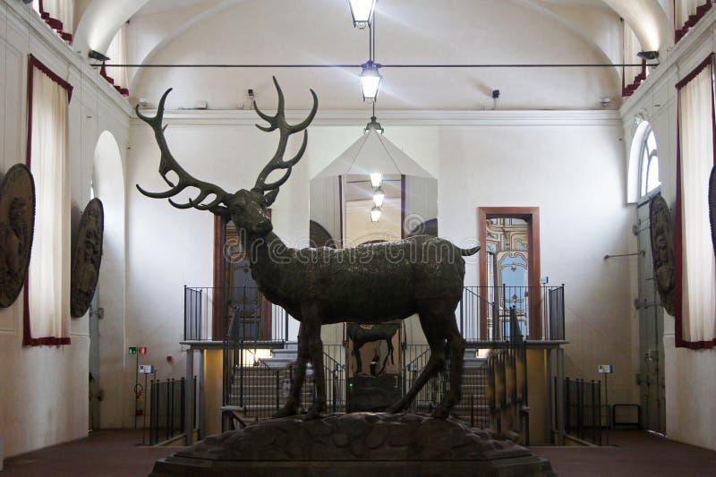 Włochy, Turyn pałac królewskiego Stupinigi sławna jelenia statua zdjęcia stock