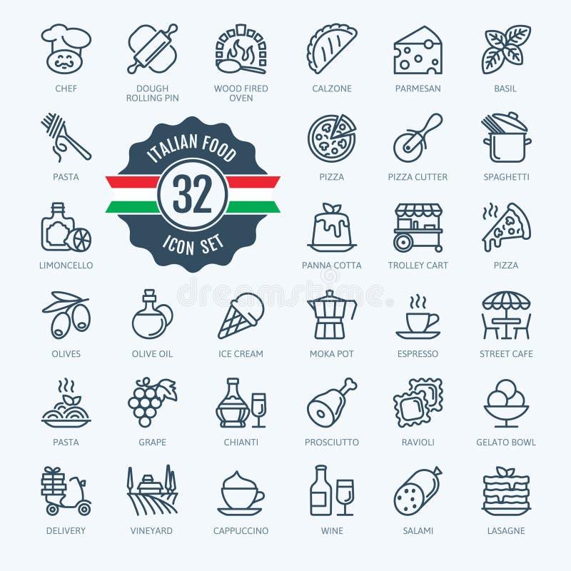 Włochy, Włoski jedzenie, Włoska kuchnia - minimalna cienieje kreskowego sieci ikony set Kontur ikony inkasowe ilustracja wektor