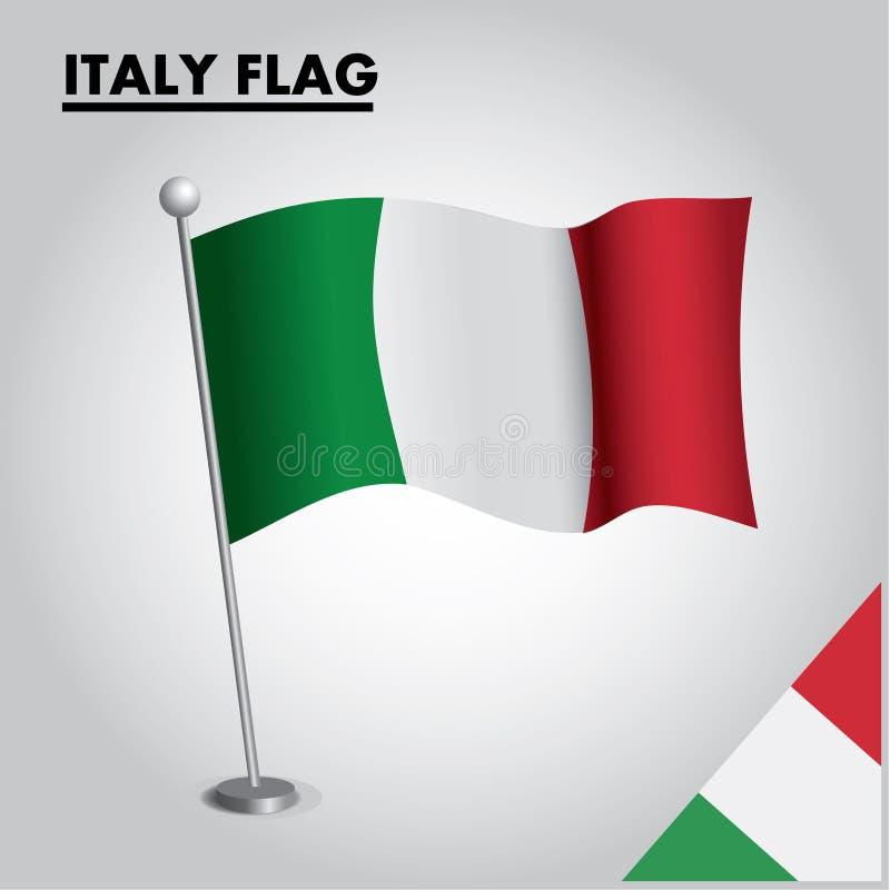 WŁOCHY zaznacza flagę państowową WŁOCHY na słupie royalty ilustracja