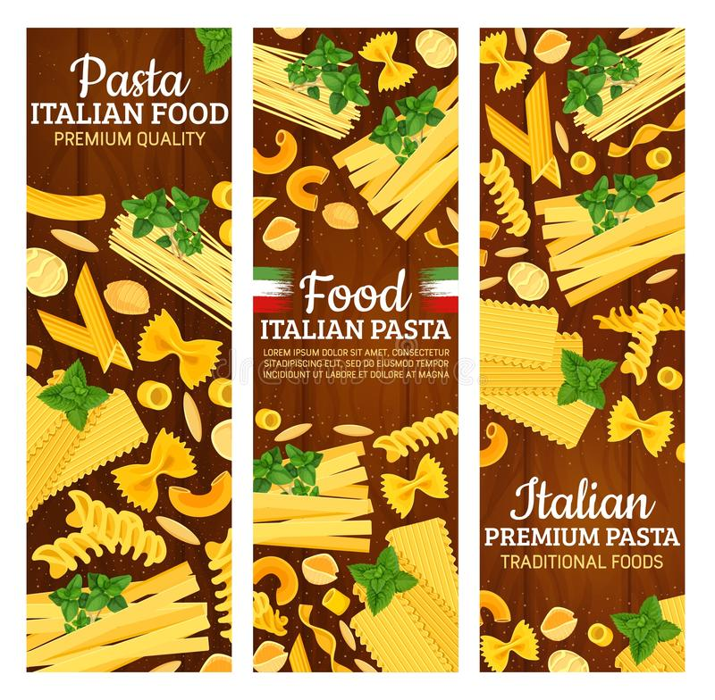 Włoscy makaronów sztandary z Włochy ciasta jedzeniem royalty ilustracja