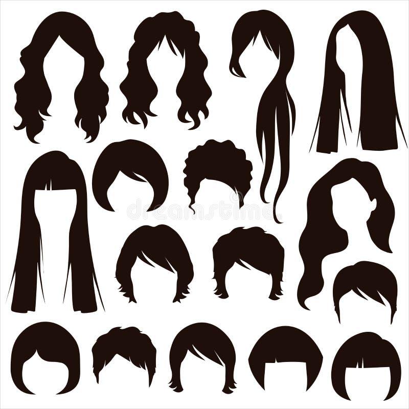 Włosiane sylwetki, kobiety fryzura royalty ilustracja