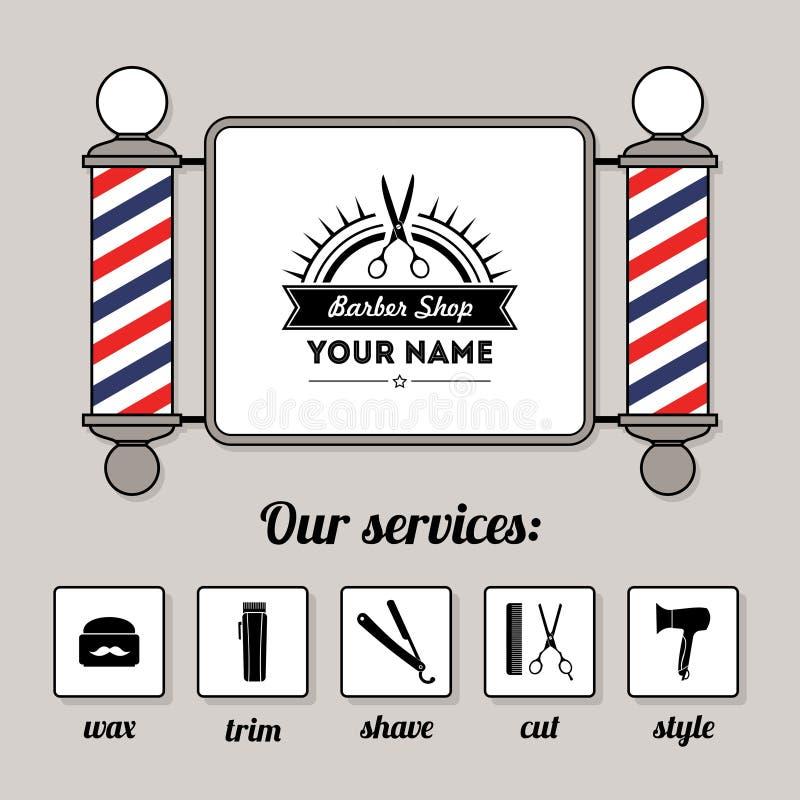 Włosianego salonu fryzjera męskiego sklepu usługa i znak projektujemy szablon royalty ilustracja