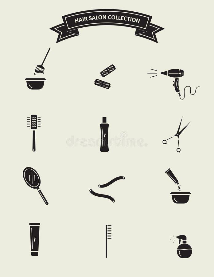 Włosianego salonu narzędzia ustawiający ilustracja wektor
