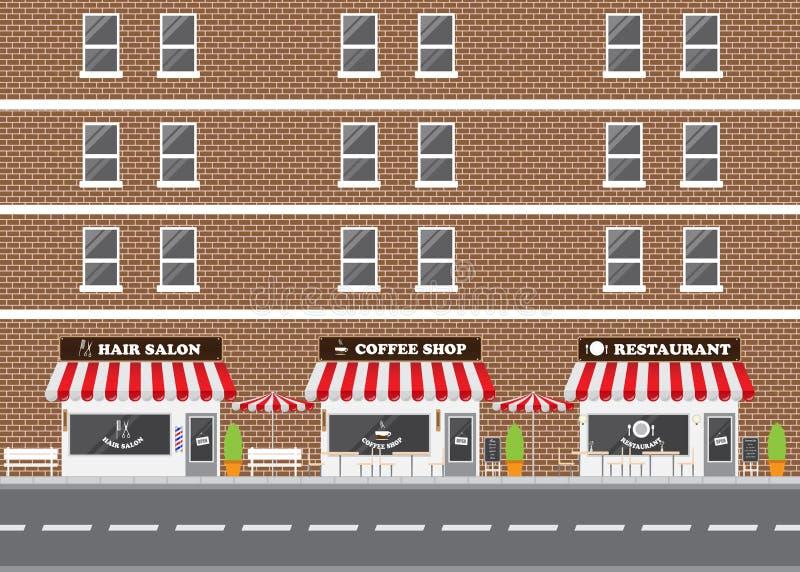 Włosianego salonu, restauraci i sklep z kawą fasada, zdjęcie royalty free