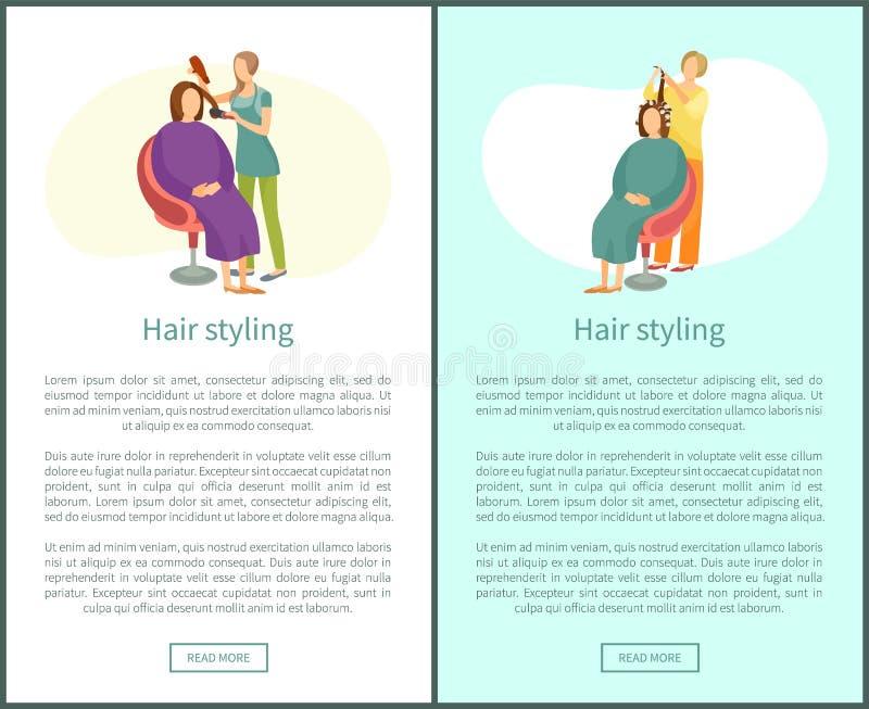 Włosianego tytułowania kobiety Plakatowy obsiadanie i fryzjer ilustracji