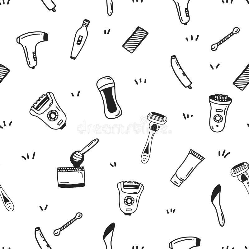 Włosianego usunięcia Bezszwowy wzór z mieszkanie linii ikonami Typ epilacja dla miejsca tła, wizytówka, sztandar Ręka royalty ilustracja