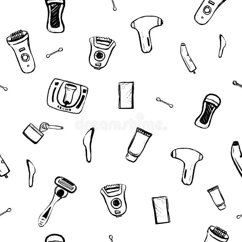 Włosianego usunięcia Bezszwowy wzór z nakreślenie symbolami Typ epilacja dla miejsca tła, wizytówka, sztandar Ręka ilustracja wektor