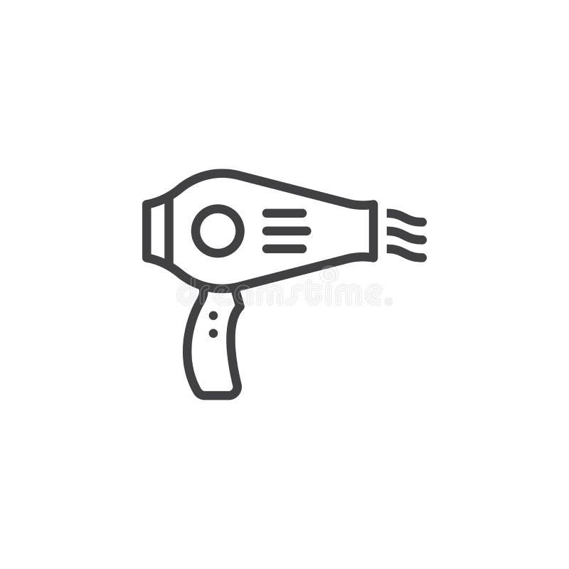 Włosianej suszarki linii ikona, konturu wektoru znak, liniowy piktogram odizolowywający na bielu ilustracji