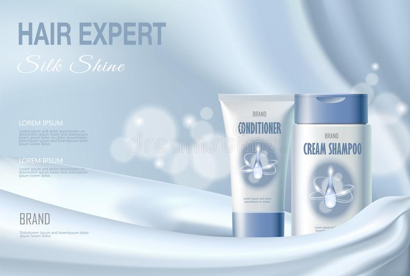 Włosiany kosmetyczny reklama szamponu nawilżania conditioner nawilżanie Bławy jedwabniczej tkaniny wody ciecza kropli plamy tło royalty ilustracja