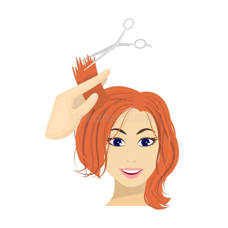 Włosiany rozcięcie z nożycami Kobiety ostrzyżenia pojedyncza ikona w kreskówka stylu symbolu zapasu ilustraci wektorowej sieci ilustracja wektor