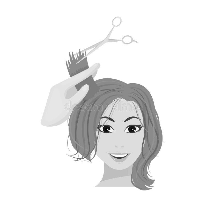 Włosiany rozcięcie z nożycami Kobiety ostrzyżenie ilustracja wektor