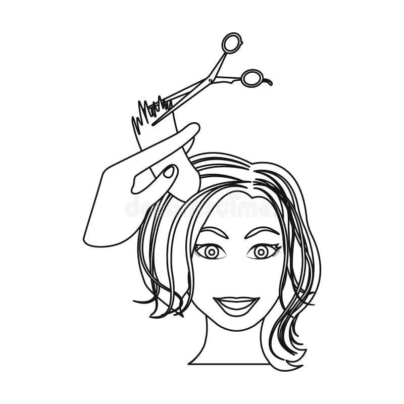 Włosiany rozcięcie z nożycami Kobiety ostrzyżenie w wektorowej symbolu zapasu ilustraci sieci ilustracja wektor