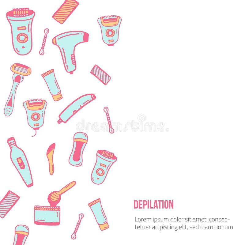 Włosiany usunięcie sztandar z depilacj ikonami w płaskim liniowym stylu Kolorowa promocja dla miejsca, broszurka, druku projekt ilustracja wektor