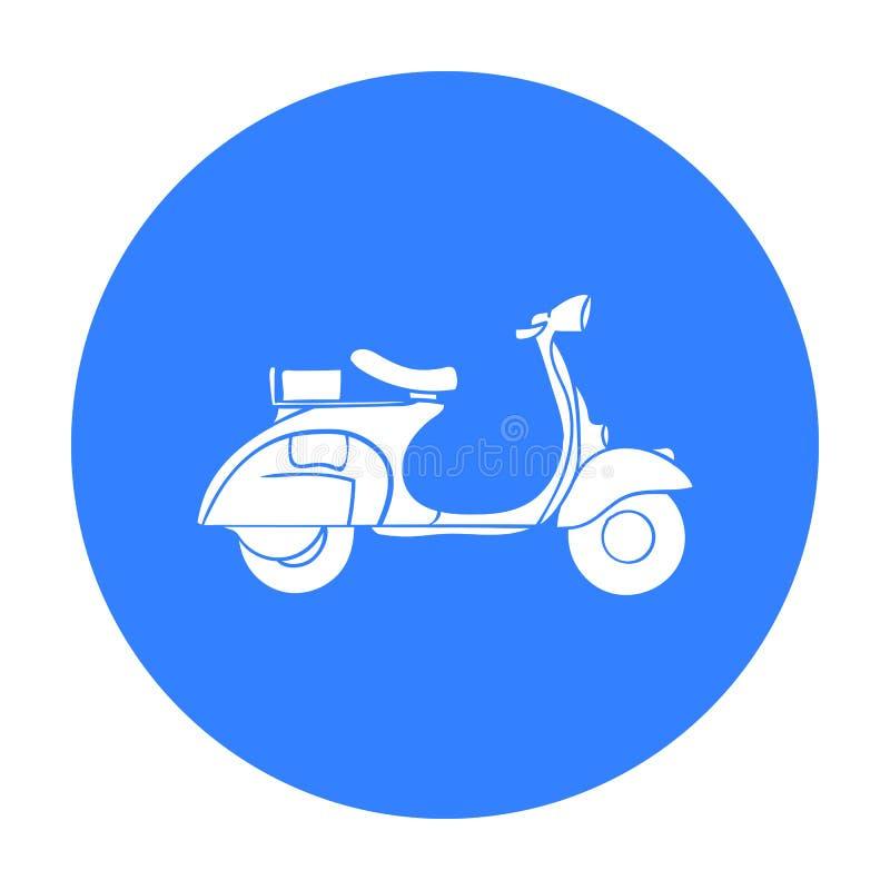 Włoska hulajnoga od Włochy ikony w czerń stylu odizolowywającym na białym tle Włochy kraju symbolu zapasu wektor ilustracji