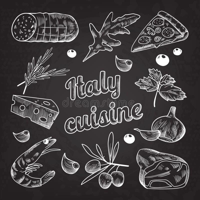 Włoska Karmowa ręka Rysujący Doodle na Blackboard Pizz garnele i ilustracja wektor