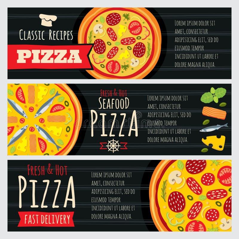 Włoska pizza i pizzeria restauracyjni wektorowi horyzontalni sztandary royalty ilustracja