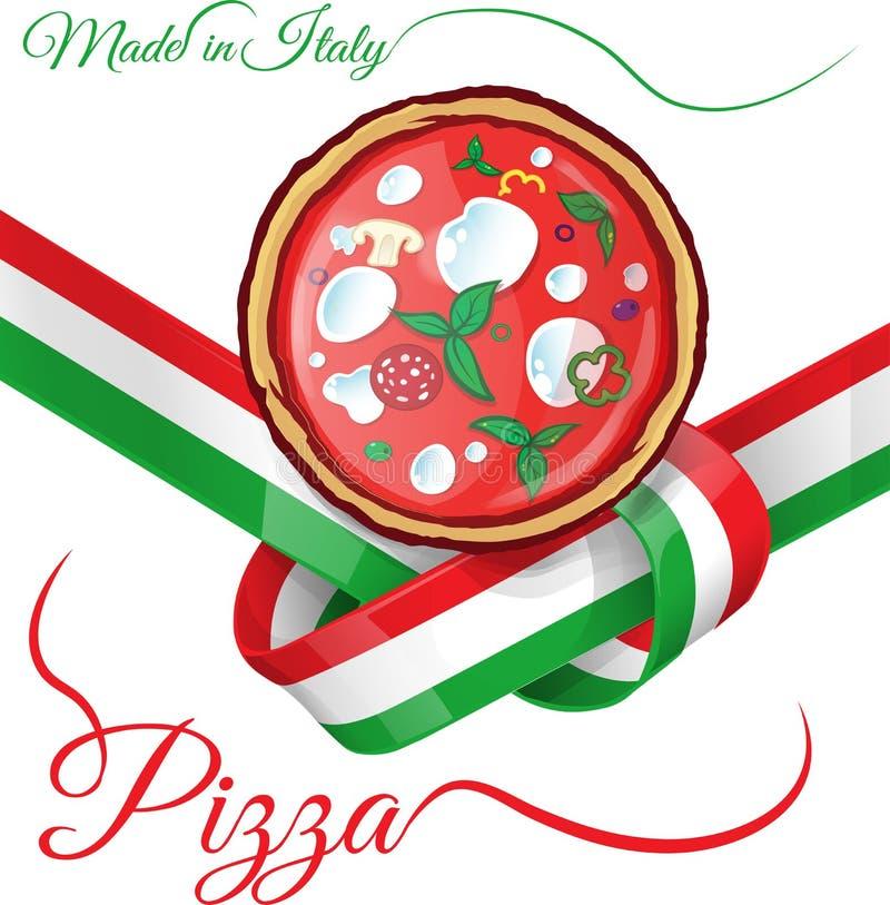 Włoska pizza na faborek flaga ilustracja wektor