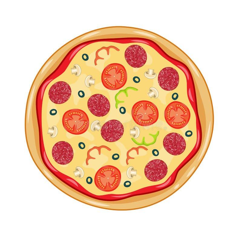Włoska pizza z pomidorem, kiełbasa ilustracji