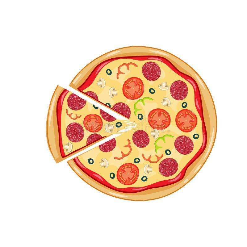 Włoska pizza z pomidorem, kiełbasa royalty ilustracja