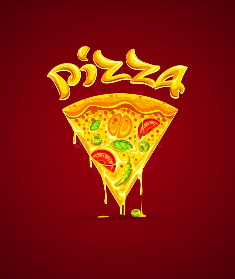 Włoska pizza z serową mozzarella wektoru ilustracją ilustracja wektor