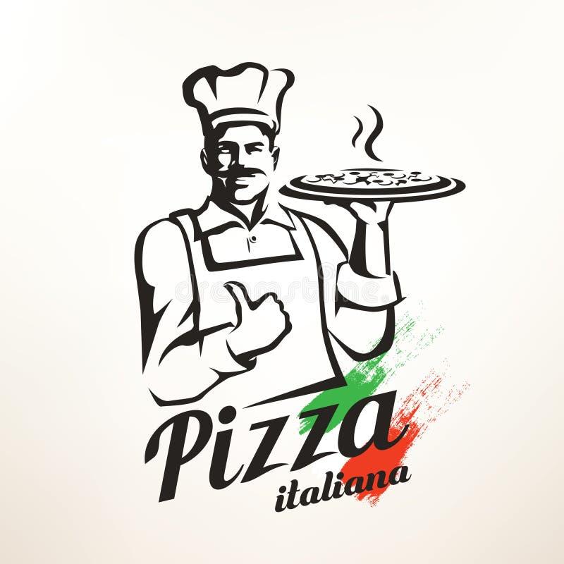 Włoska szefa kuchni mienia pizza ilustracja wektor