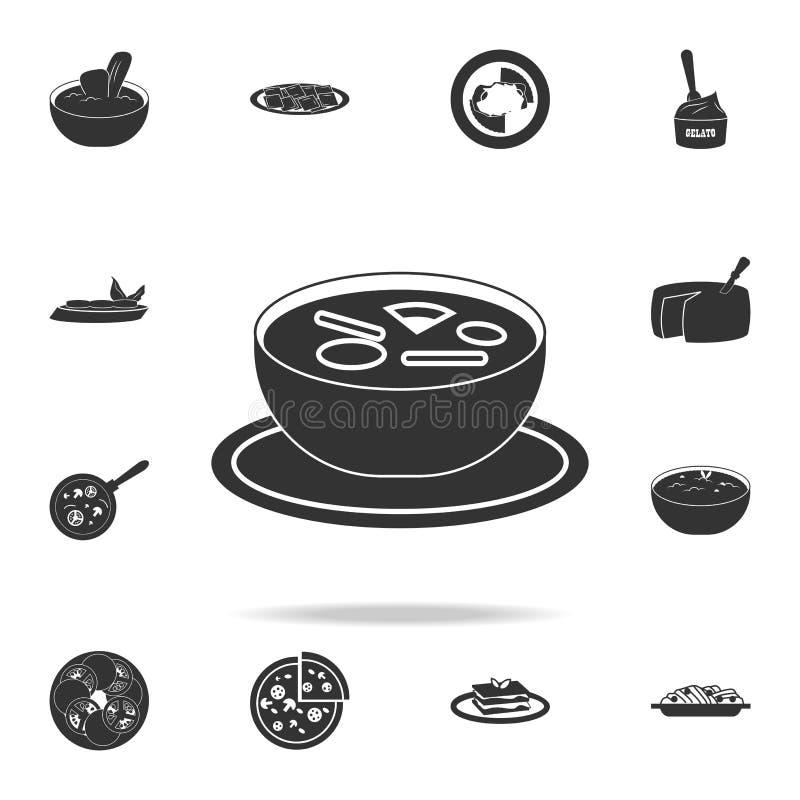 włoska zupna ikona Szczegółowy set włoskie foods ilustracje Premii ilości graficznego projekta ikona Jeden inkasowe ikony f royalty ilustracja