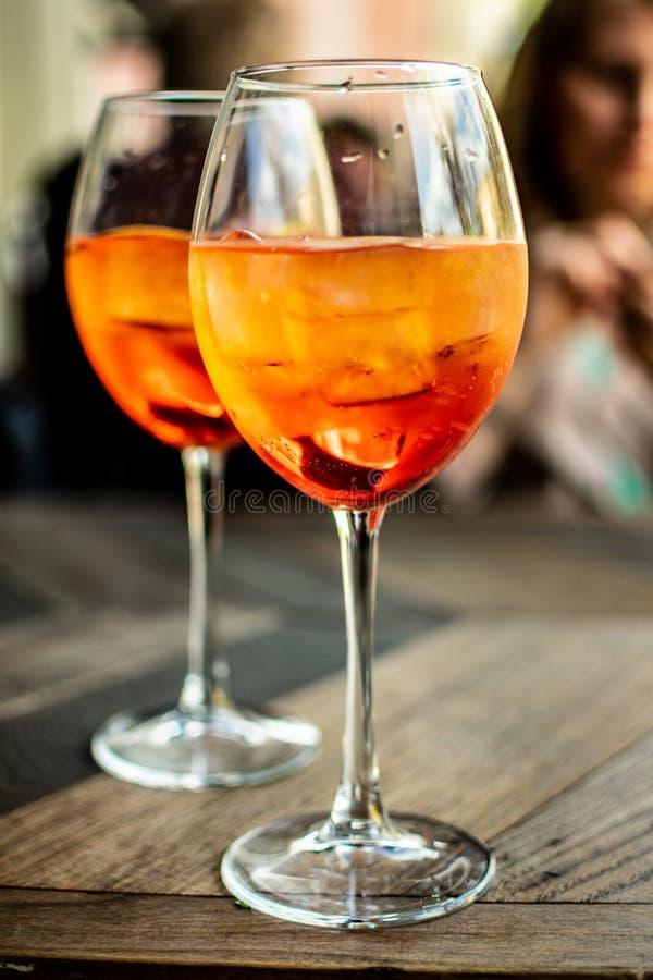 Włoski aperitif ` aperol stpritz ` obraz stock