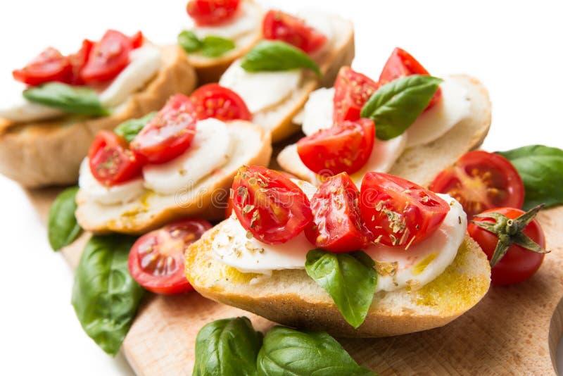 Włoski bruschette, tradycyjne zakąski fotografia stock