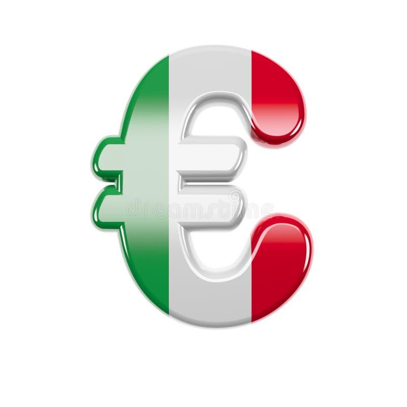 Włoski euro waluta znak Stosowny dla Włochy, Europa lub Rzym odnosić sie tematów, - 3d Włochy flagi Biznesowy symbol - ilustracji