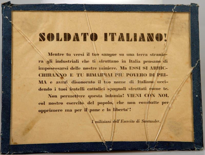 Włoski fascist pasquÃn spanish cywilna wojna fotografia royalty free