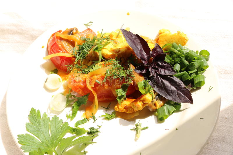 Włoski gnocchi z pieczarkami i pomidorowym kumberlandem fotografia royalty free