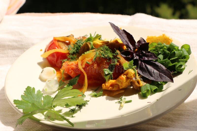 Włoski gnocchi z pieczarkami i pomidorowym kumberlandem zdjęcie stock