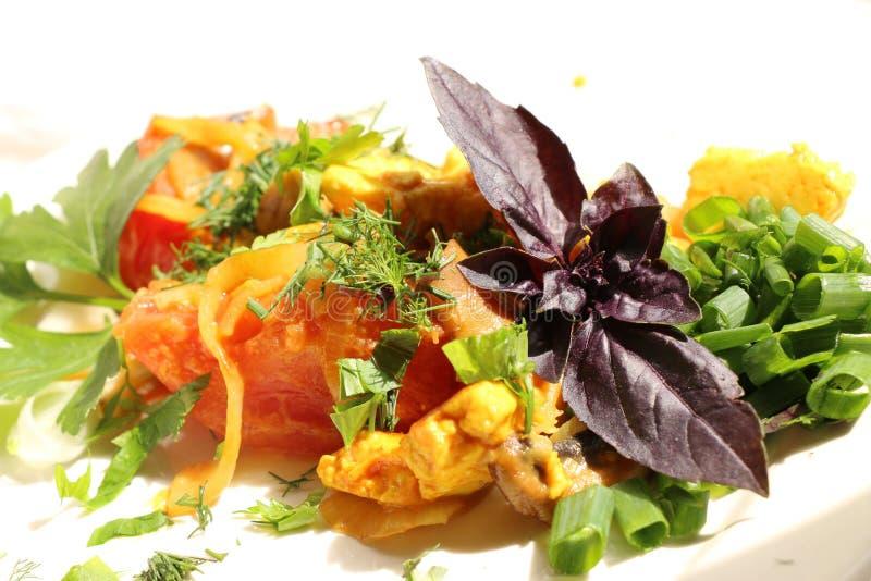 Włoski gnocchi z pieczarkami i pomidorowym kumberlandem zdjęcie royalty free