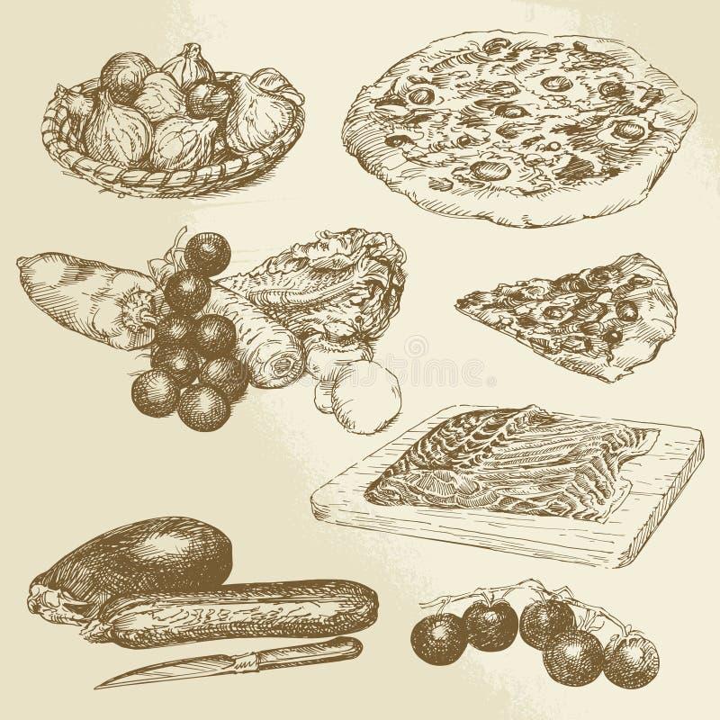 Włoski jedzenie, pizza, warzywa ilustracji