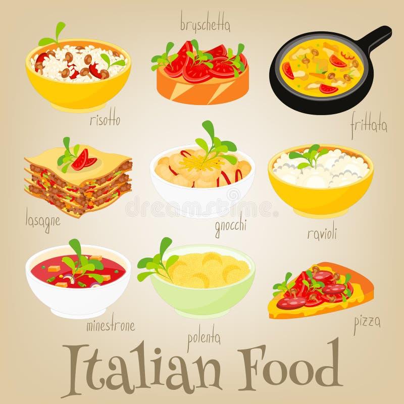 Włoski jedzenie set ilustracji