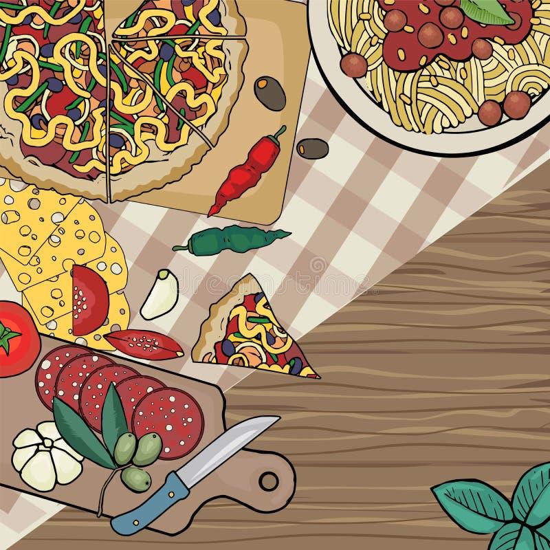 Włoski jedzenie stół royalty ilustracja