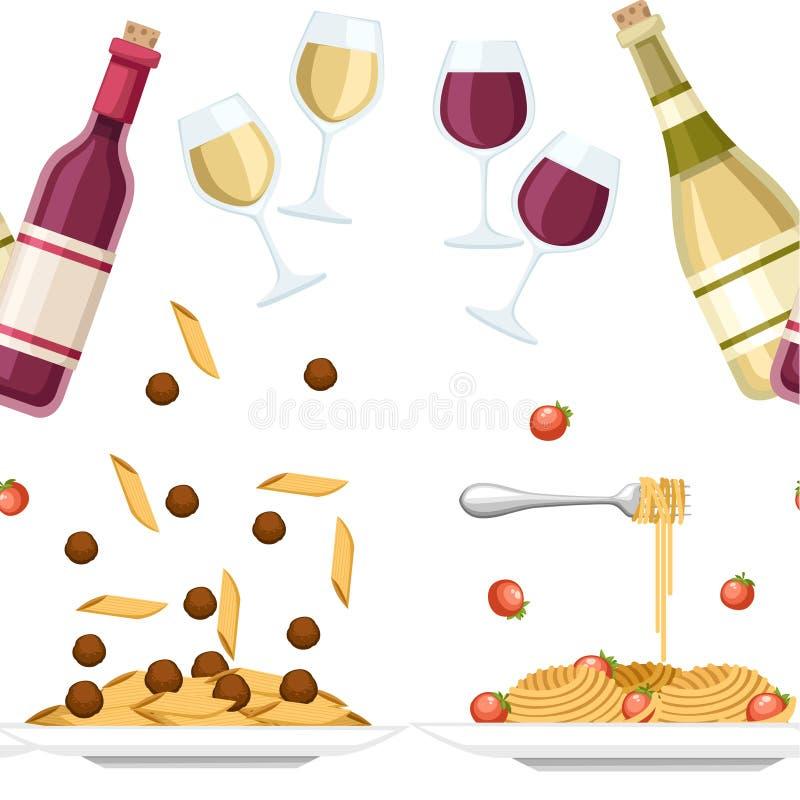 W?oski karmowy makaronu spaghetti, Cellentani z pomidorami i P?aska ilustracja Poj?cie dla powitanie reklamy i karty ilustracji