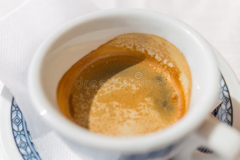Włoski kawy espresso coffe na stole w Włochy zdjęcia stock