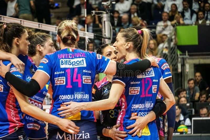 Włoski kobiety siatkówki klub Igor Gorgonzola Novara obraz royalty free