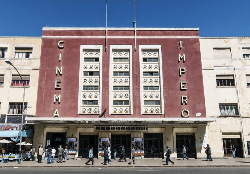 Włoski kolonialny art deco stary kinowy budynek w Asmara Eritrea zdjęcia royalty free